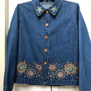 New Identity-Denim shirt w/embroidered design ❤️